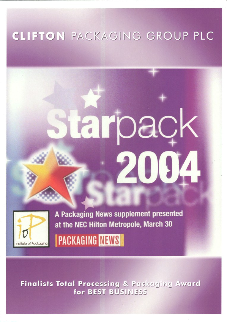 Starpack 2004 Total Processing & Packagaing Awards for BEST BUSINESS