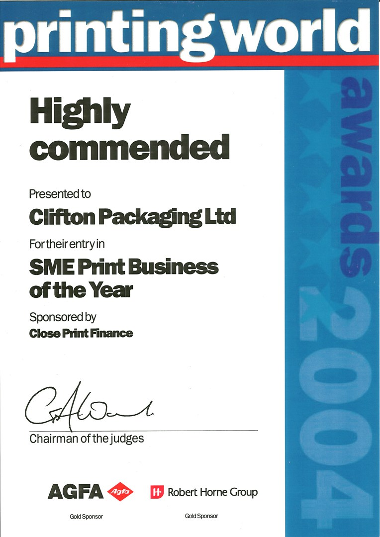 Printing World Highly Commended for SME Print Business of the Year