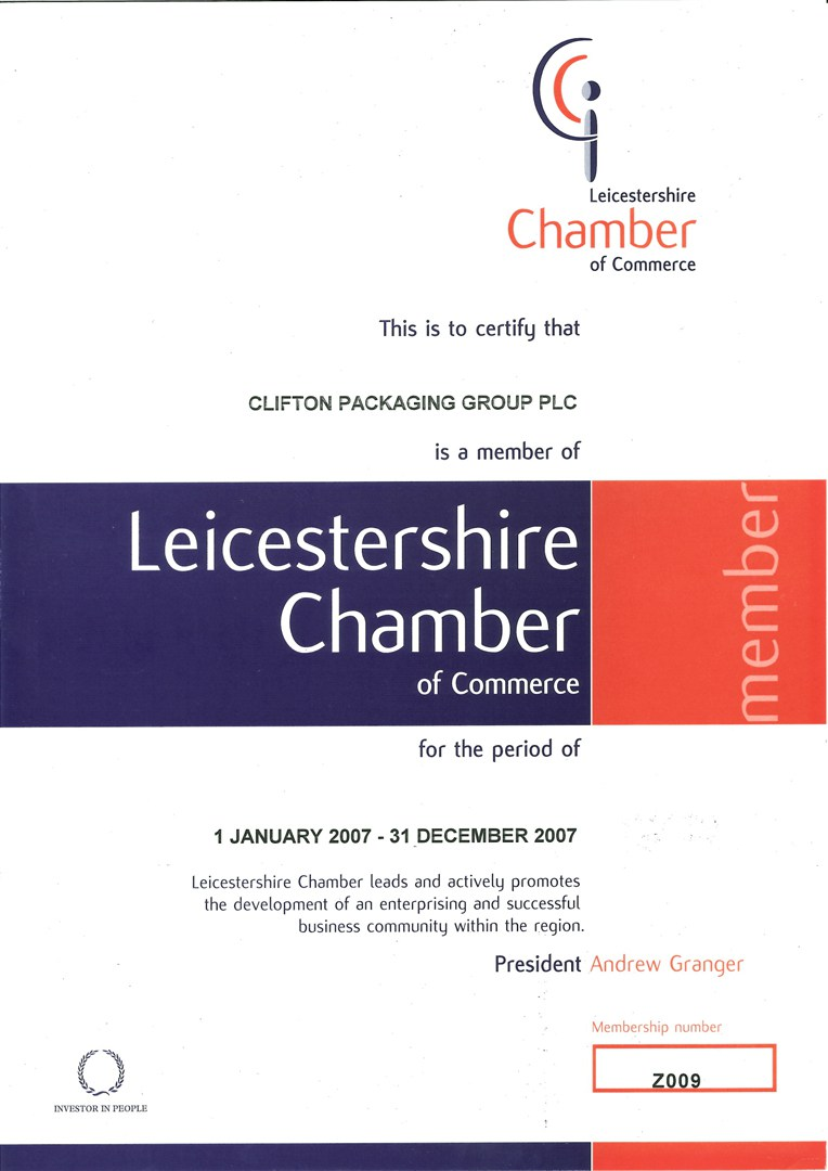This is to certify that Clifton Packaging Group PLC is a member of Leicestershire Chamber of Commerce member