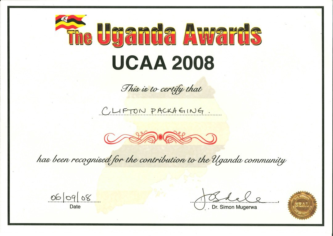 The Uganda Awards 2008, Clifton Packaging has been recognised for the contribution to the Uganda community