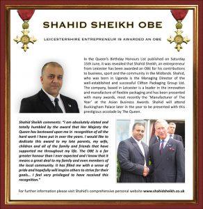 Shahid Sheikh's OBE Award