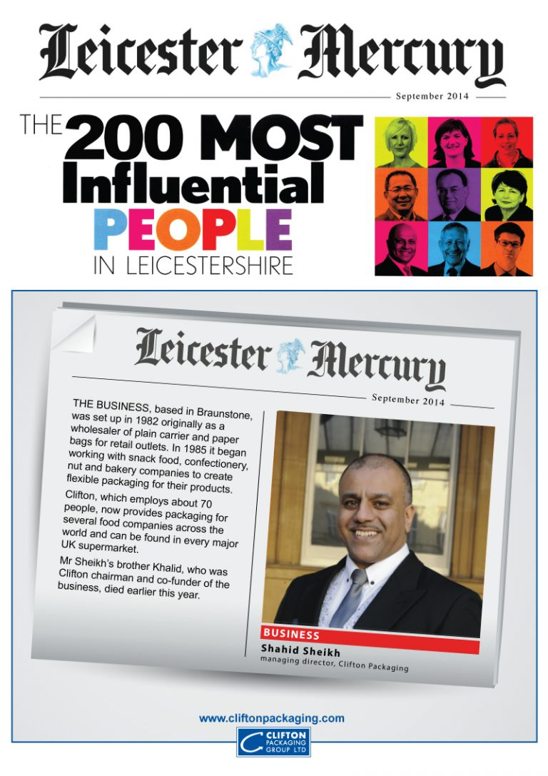 Leicester Mercury, 200 Most Influential 2014, Shahid Sheikh OBE, managing director of the Clifton Packaging, Clifton Packaging Group LTD. flexible packaging