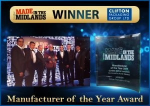 Made in the Midlands Winner, Manufacturer of the Year Award 2017, Clifton Packaging Group Ltd.