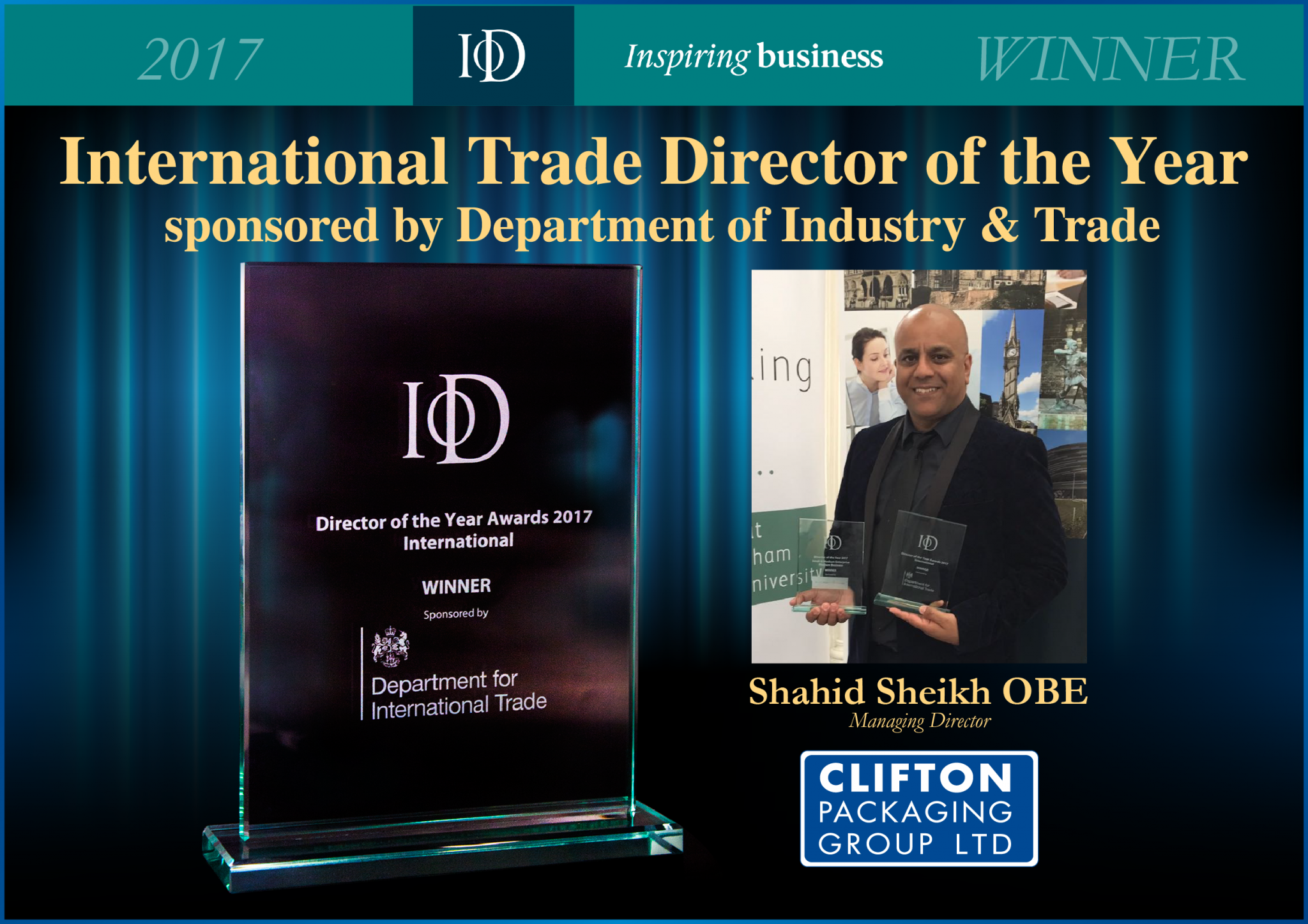 International Trade Director of the Year 2017, Clifton Packaging Group ltd. Packaging, Flexible Packaging
