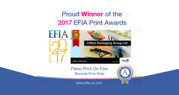EFIA 2017 winner, Clifton Packaging Group Ltd., Flexible Packaging