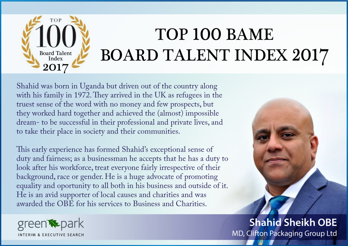Top 100 BAME Board Talent Index 2017, Clifton Packaging Group