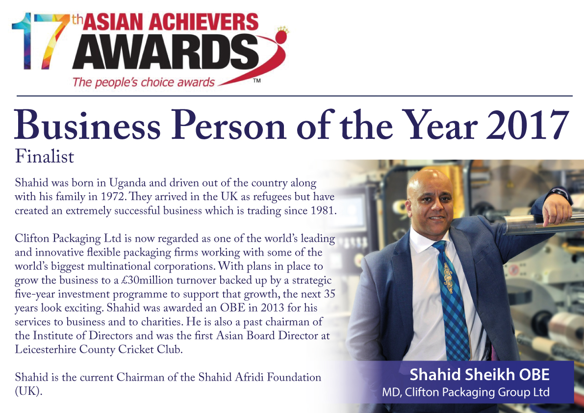 17th Asian Achievers Awards 2017 Business Person of the Year 2017 Finalist, Shahid Sheikh OBE, Clifton Packaging Group Ltd.