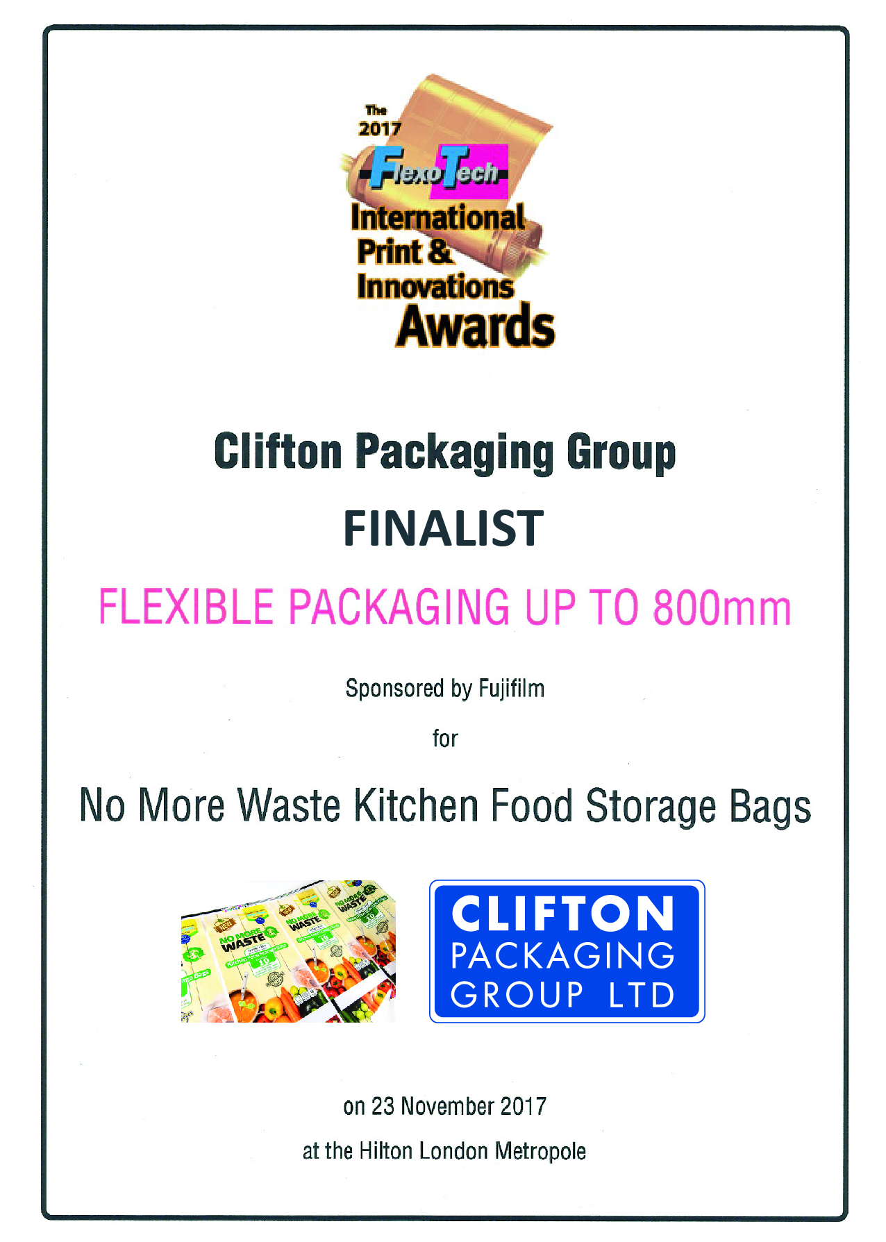 Flexo Tech Awards 2017, Finalist Flexible Packaging 800mm