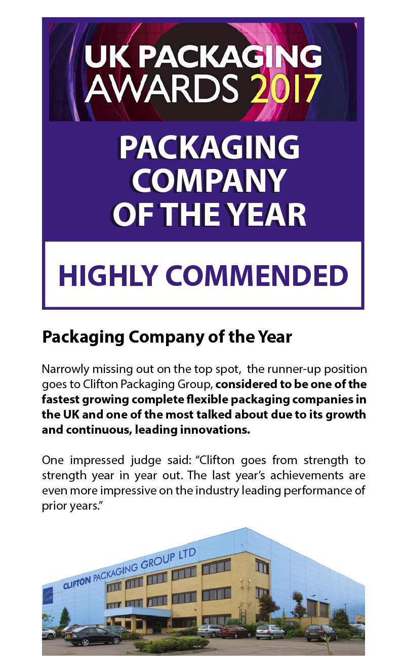 UK Packaging Awards 2017, Highly Commended Company, Clifton Packaging Group Ltd.