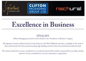 The Signature Awards 2018 Finalist. Clifton Packaging Group Ltd