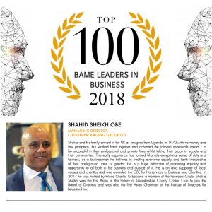 BAME TOP 100 - BAME Leaders in Business 2018, Shahid Sheikh OBE