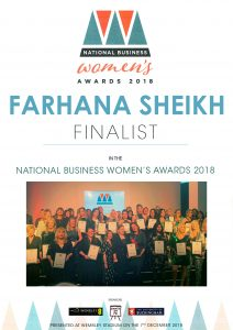 Farhana Sheikh Finalist National Business Women's Award 2018
