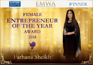 Female Entrepreneur of the Year Award 2018 Farhana Sheikh, Clifton Packaging Group