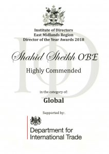 Iod Global, Director of the Year Awards 2018 Winner Shahid Sheikh OBE