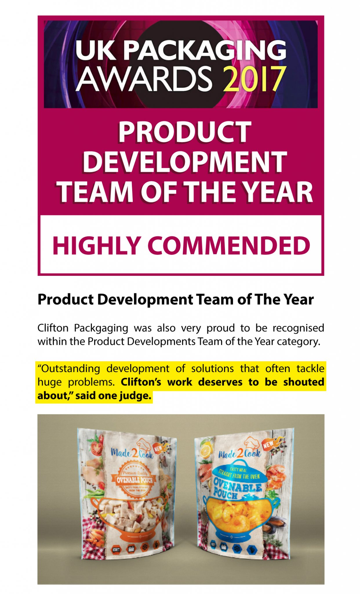 UK Packaging Awards 2017, Highly Commended Product Development Team of the Year, Clifton Packaging Group Ltd.