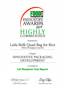 Food Industry Awards 2019 Highly Commended - Laila Bulk Quad Bag
